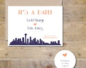 Save The Dates, City Save The Dates,  Wedding Save The Date, Affordable Wedding, City Silhoueetes, Silhouettes, Hearts