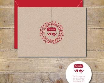 Christmas Cards, Love Birds, Love Bird Christmas, Christmas Wreath,  Winter Berry, Handmade, Holiday Cards, Christmas Card Set