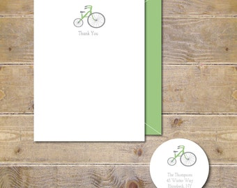 Tricycle, Baby Thank You Cards, Baby Shower, Thank You Cards, Gender Nuetral, Tricycle Note Cards, Bicycle Baby Cards, Baby Announcements