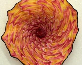 Beautiful Hand Blown Glass Art Wall Platter Bowl 6515  ONEIL