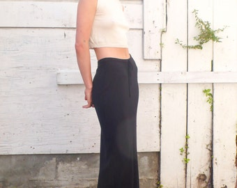 Vintage Minimalist 1990's High Waisted Banana Republic Black Sweater Tube Drawstring Maxi Skirt S/M
