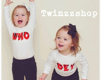 Who Dey Bengals TWIN Set of Baby Bodysuits, Great Shower gift for TWINS or siblings