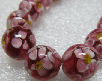 Lampwork Beads 12mm Large Maroon Red and White Hawaiian Flower Rounds - 10 pieces