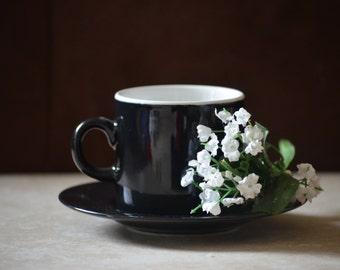 Demitasse Cup and Saucer Set/ Noir by Sakura/Black Cappuccino Cup and Saucer Set/1996