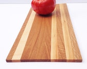 "Handmade Wood Cutting Board - Rustic Plank - Oak with three strips of Hard Maple - 16"" x 7"" x 3/8"