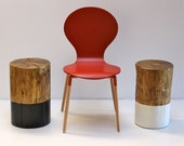 Black Paint Dipped Tree Stump Side Table Stool Seat