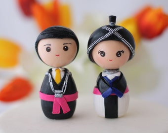 Hmong bride and groom wedding cake topper kokeshi figurines