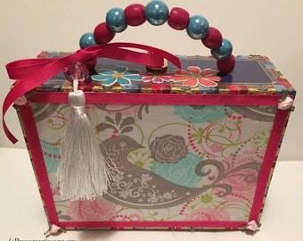 Pink Blue Paisley Lovebird Floral Beaded Cigar Box Purse Bridal