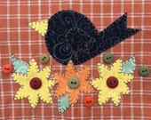 Fall Black Crow Applique PDF Pattern for Tea Towel