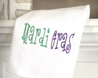 Mardi Gras  embroidered towel