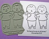 SALE 50% 0ff - A Friend Loves Unmounted Rubber Stamp - Paper Craft - Gift Ideas for Friends - Journaling - Best Friends - Religious Gifts