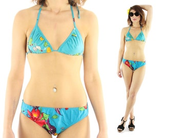 Vintage 80s String Bikini Turquoise Floral Cotton Tropical Flowers Two Piece Hawaiian Swimsuit Swimwear 1980s Small S