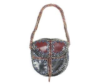Vintage 70s Leather Shoulder Bag Large Purse Navy Blue Brown Hippie Boho Handbag 1970s
