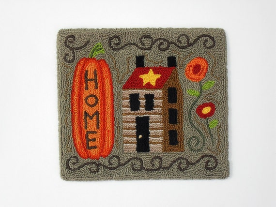 "PATTERN - Primitive Folk Art Punch Needle Embroidery - ""Home"" Punchneedle (Pattern No. H-118)"