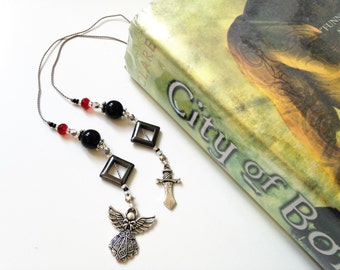 Shadowhunters Bookmark Mortal Instruments City of Bones Fantasy Beaded Book Thong Black Red with Silver Dagger and Clockwork Angel Charms
