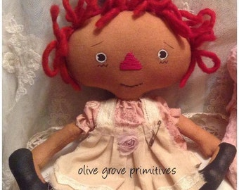 New sewing pattern pdf e-pattern for Old Dolly Raggedy Annie pattern handmade vintage style Rag Doll