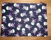"Skull Bones - 7"" Zippered Pouch - Lined - Pink - White - Black"