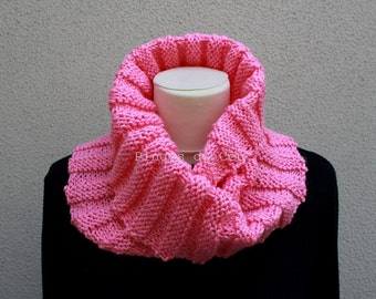 Knitted Neckwarmer in Candy Pink - Scarf - Handmade by T. Catana - Made to Order: 3-4 business days.