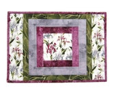 "Quilted Placemats ""Pink Iris"" Set of 2, White Table Mats, Quiltsy Handmade Table Decor, Patchwork Quilt Mats, Fabric Placemats"