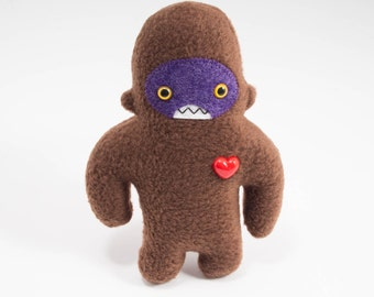 Travel adventure friend! Mini sasquatch plush companion... Custom bigfoot brown & purple.