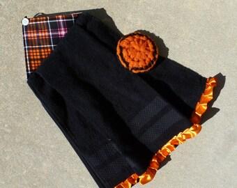 Halloween Kitchen Towel - Black with  Halloween Plaid and Orange Ruffle