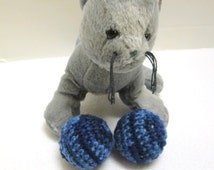 Cat Toys, Kitty Cat Jingle Bell Toys, Stocking Stuffer for Your Cat, Blue Jingle Bell Balls, Gift for Pet by Crocheted by Charlene, Under 5