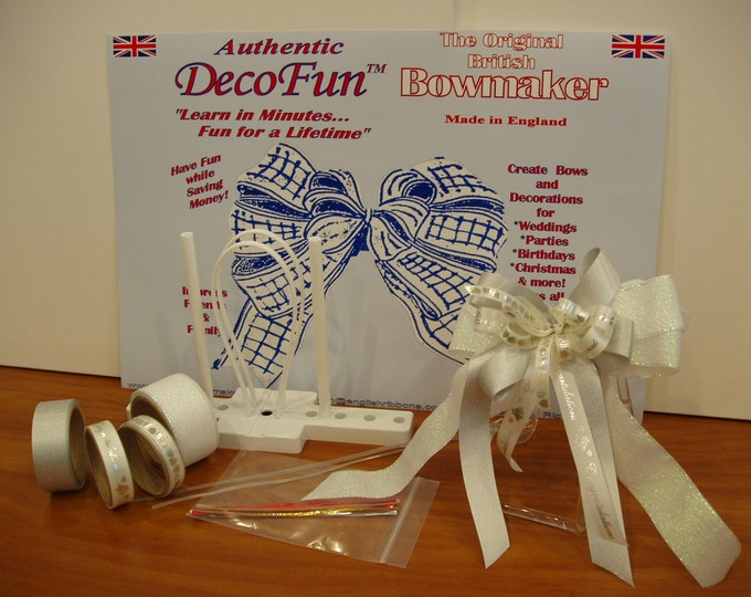 DecoFun Bow Maker WEDDING & BRIDAL Ribbon Starter Kit DIY beautiful, easy quick bows for party favors, decor, table settings, gifts, floral