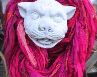 Fuchsia Recycled Sari Silk Ribbon 5 - 70 Yards Thin Ribbon Yarn For Jewelry Weaving Spinning & Mixed Media