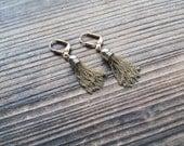 Gold Plated Tassel Earrings Simple 1920s Vintage Art Deco Gatsby Era Earrings Gold Tassel Earrings