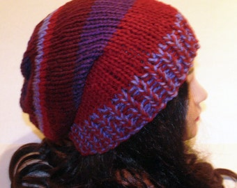 Colorful Knit Hat, Fall Hat, Burgundy, Purple and Wine Color Hat, Striped Hat, Beanie, Chunky Rim Hat, Womans Winter Hat