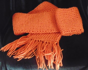 Orange Knit Scarf, Ribbed Scarf with Fringes, Chunky Scarf, Long Ribbed Scarf
