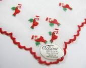 Vintage NWT Tiny Santas Burmel Embroidered Swiss Christmas Hanky Holiday Hankercheif