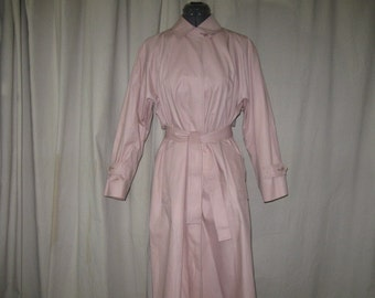 Vintage London Fog Maincoats Light Pink Belted All Weather Rain Trench Coat 8
