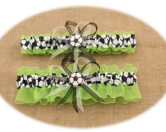 Lime Green Wedding Garter Set with Soccer Deco, Bridal Garters ( Your Choice, Single or Set)