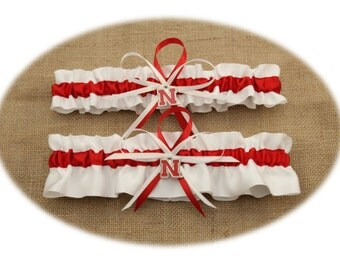 Red and White Wedding Garter Set with University of Nebraska Themed Colors and Charms