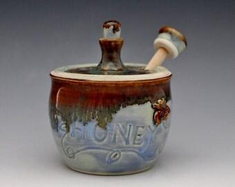 Honey Jar Honey Pot Miel with Matching Honey Dipper in Blue Jasper Free Shipping*