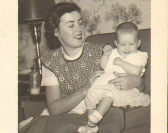 Vintage Photo of a Pretty Young Mother and Her Smiling Baby