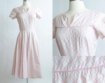 Vintage 50s Dress | 1950s Cotton Dress | Pink Geometric Cotton Summer Full Skirt Dress