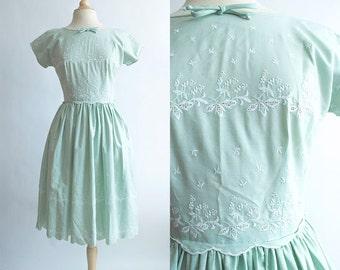 Vintage 50s Dress | 1950s Cotton Dress | Mint Green Eyelet Party Dress
