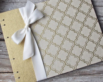 Gold Wedding Guest Book or Photo Album, Gold and Ivory Moroccan Print, {MADE upon ORDER}