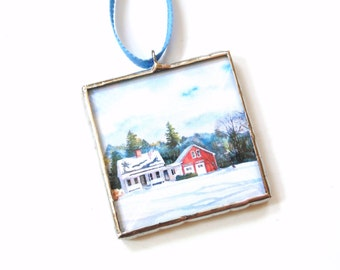 Winter country scenery ornament, stained glass, house and barn rural, mini framed art gift under 20, print of watercolor painting