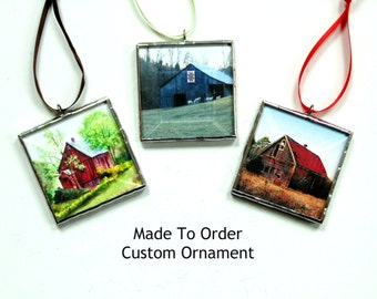 Customized picture ornament, your custom home, pet, picture ornament, stained glass made to order, mini wall art, country barn farm rural