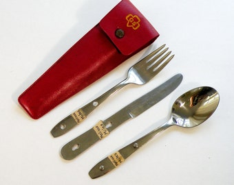 Vintage 1960s Girl Scout stainless steel camping hiking cutlery kit