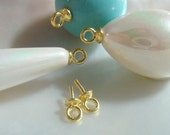 7x3mm, 4 pcs, 18K Gold 925 Sterling Silver Link Cup and Peg Drop, For Half drilled beads and pearls