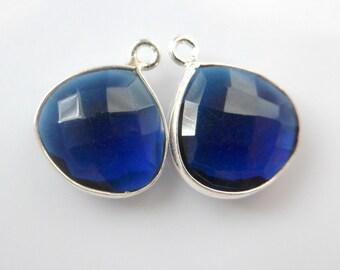 London Blue Hydro Quartz Sterling Silver Pendant Charm finding, Handmade Sterling Silver Bezel Rim Pendant, 14x17mm, 1 pcs