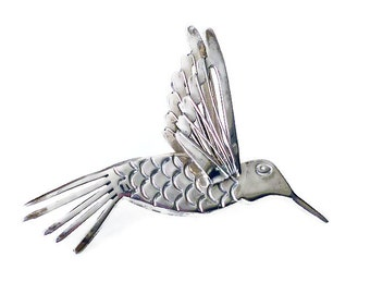 Sterling Hummingbird, Vintage Brooch, Mexico Silver 925, Flying Bird, Three Dimensional, Mexican, Artisan Jewelry
