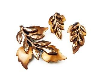 Renoir Copper Leaf Brooch Earrings Set - Renoir Matisse, Laurel Leaf, Walnut Leaves, Copper Jewelry, Vintage Jewelry