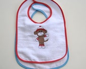 Sock Monkey Embroidered Design Baby Bib, Choice of Design and Personalized, Boy or Girl, Baby Shower Gift