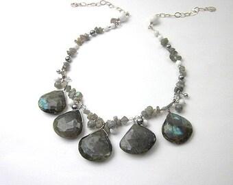 Large Gemstone Necklace -- Grey & White Necklace -- Grey Statement Necklace -- Large Grey Necklace -- Large Labradorite Necklace -- Grey Gem