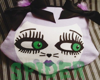 Cutie Kitty Coin purse Cat Purse Cats Zipper Pouch Little Purses Lavender with Green Eyes
